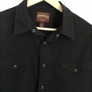 AEROPOSTALE MEN'S RETRO SNAP BUTTON LS SHIRT-LARGE